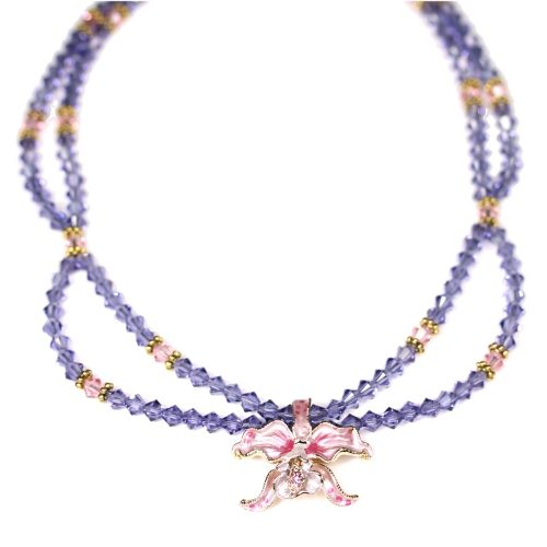 Orchid necklace pink petals tanzanite crystals