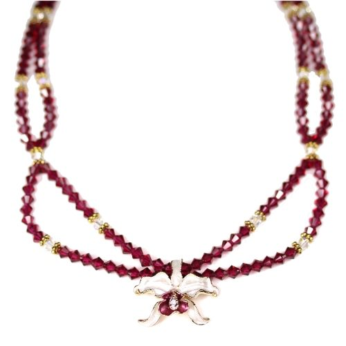 Orchid necklace white petals ruby crystals