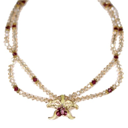 Orchid necklace yellow petals golden shadow crystals