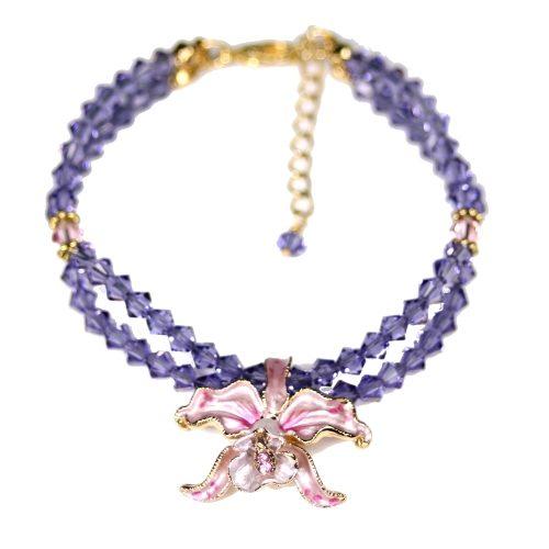 Orchid bracelet pink petals tanzanite crystals