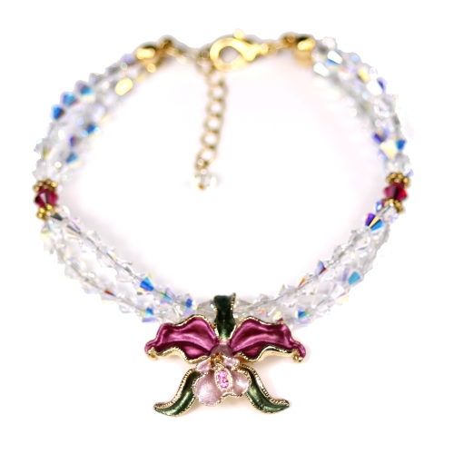 Orchid bracelet red petals crystal AB crystals