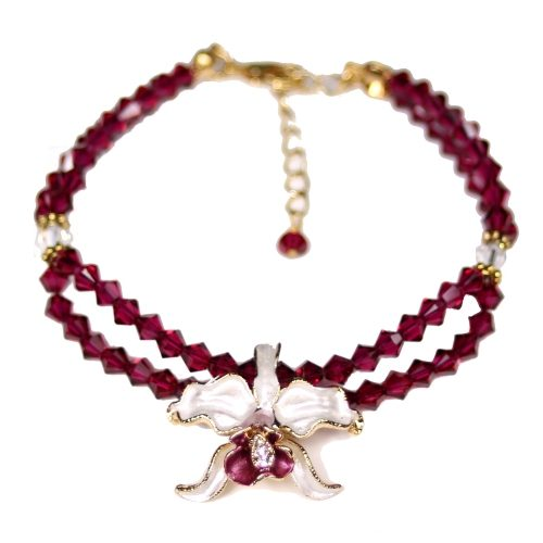 Orchid bracelet white petals ruby crystals