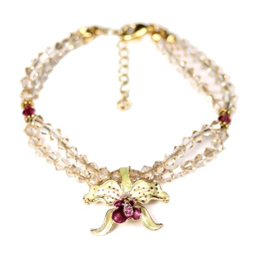 Orchid bracelet yellow petals golden shadow crystals