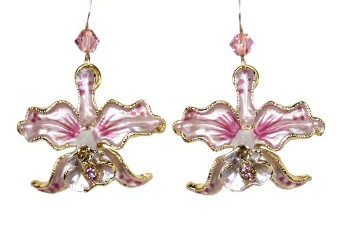Orchid earrings pink petals