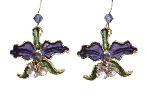Orchid earrings purple petals