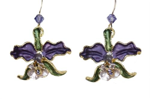 Orchid earrings purple petals