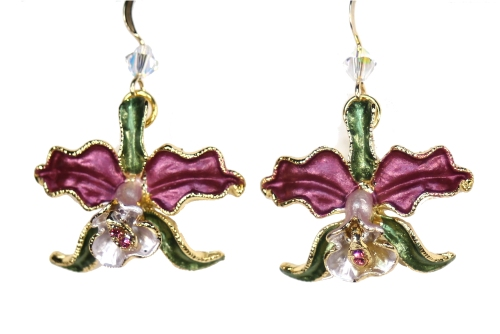 Orchid earrings red petals