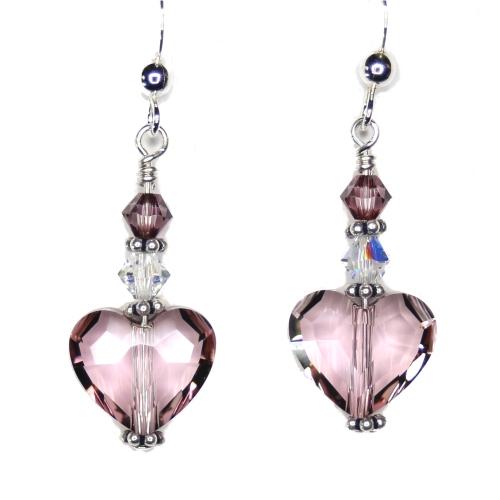 Antique Pink Swarovski Crystal Heart Earrings